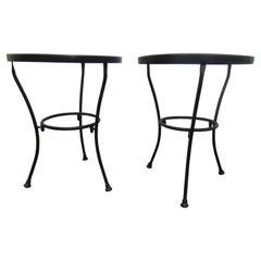 Vintage Pair of Black Metal Side Tables