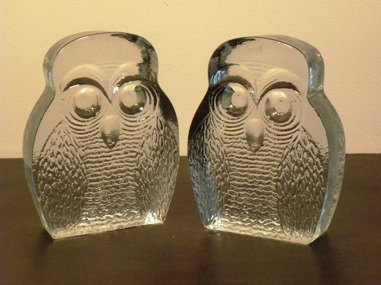 Mid-Century Modern Vintage Pair of Blenko Owl Form Bookends For Sale