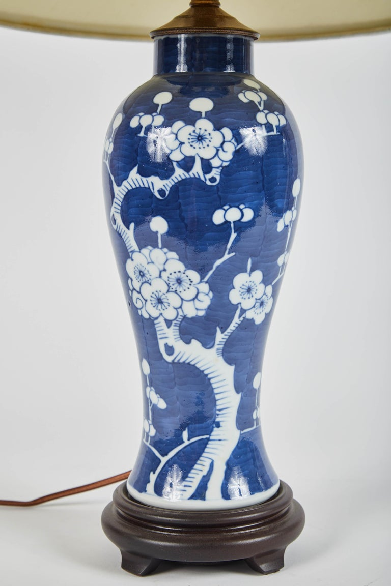 Chinese Export Vintage Pair of Blue and White Cherry Blossom Lamps For Sale