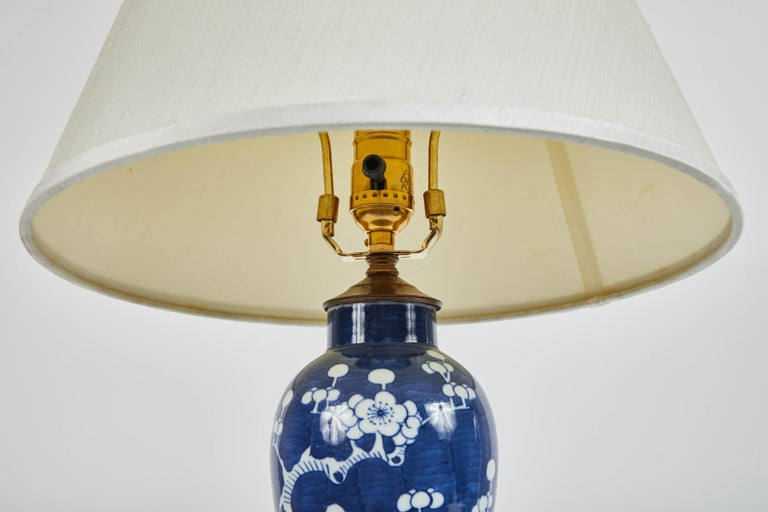 Asian Vintage Pair of Blue and White Cherry Blossom Lamps For Sale