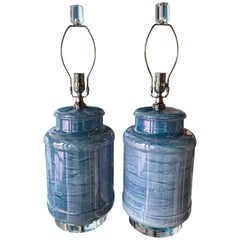 Vintage Pair of Blue Beachy Glass Table Lamps Newly Wired Lucite Base & Finials