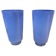 Vintage Pair of Blue Murano Glass Vases
