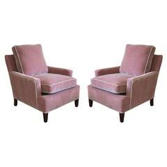 Vintage Pair of Blush Pink Tuxedo Club Chairs