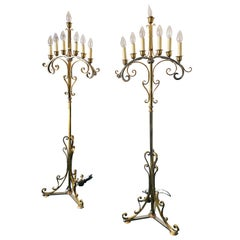 Vintage Pair of Brass and Chrome Candelabra Floor Lamps, circa 1950s