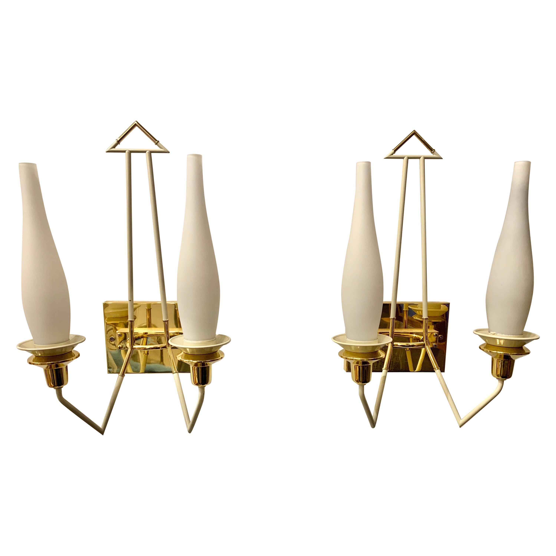 Vintage Pair of Brass and Enamel Stilnovo Wall Sconces