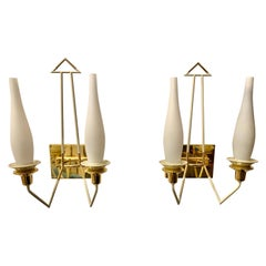 Vintage Pair of Brass and Enamel Stilnovo Wall Sconces