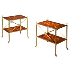 Vintage Pair of Brass and Marquetry Low Tables in the Manner of Mallett