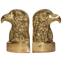 Vintage Pair of Brass Eagle Bookends or Doorstops
