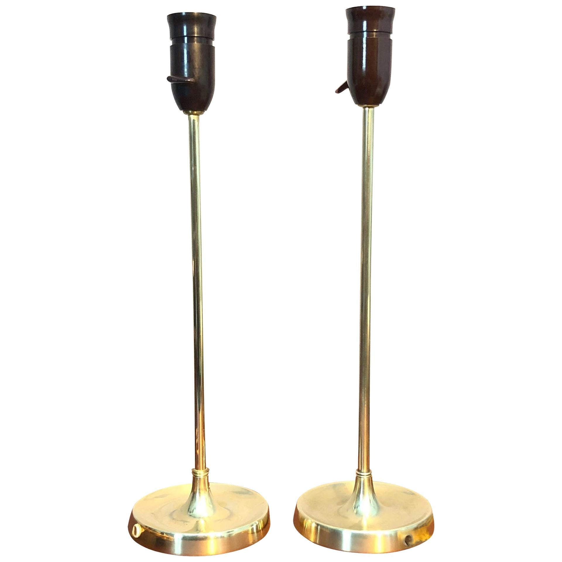 Vintage Pair of Brass Table Lamps by Esben Klint for Le Klint from the 1950s