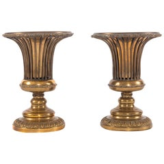 Vintage Pair of Brass Urns with Removable Liners