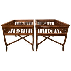 Vintage Pair of Brighton Style Burnt Bamboo End Side Tables