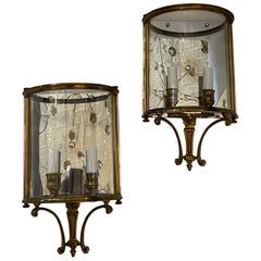 Vintage Pair of Bronze Wall Lantern Sconces Curved Glass Mirrored Back Vaughan