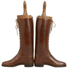 Vintage Pair of Brown Leather Ladies Lace Up Riding Boots
