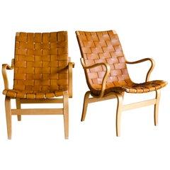 Vintage Pair of Bruno Mathsson Lounge Chairs, Model Eva, Sweden, 1960s