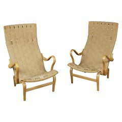 Vintage Pair of Bruno Mathsson Lounge Chairs, Model Pernilla, circa 1960