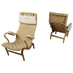 Vintage Pair of Bruno Mathsson Lounge Chairs, Model Pernilla, circa 1970