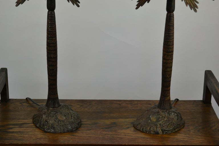 Pair of Brutalist Palm Tree Table Lamps, 1950s For Sale 3