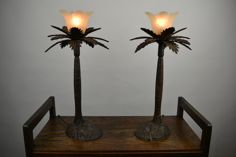 Pair of Brutalist Palm Tree Table Lamps, 1950s For Sale 4