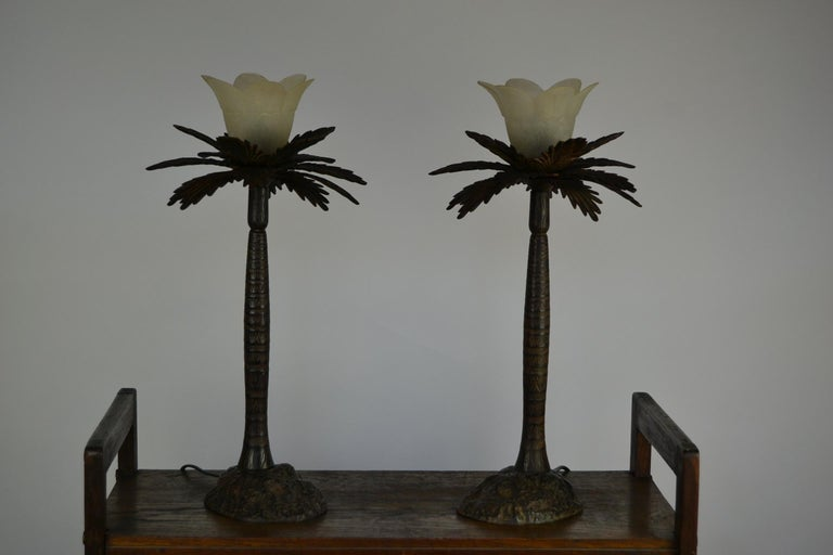 Pair of Brutalist Palm Tree Table Lamps, 1950s For Sale 5