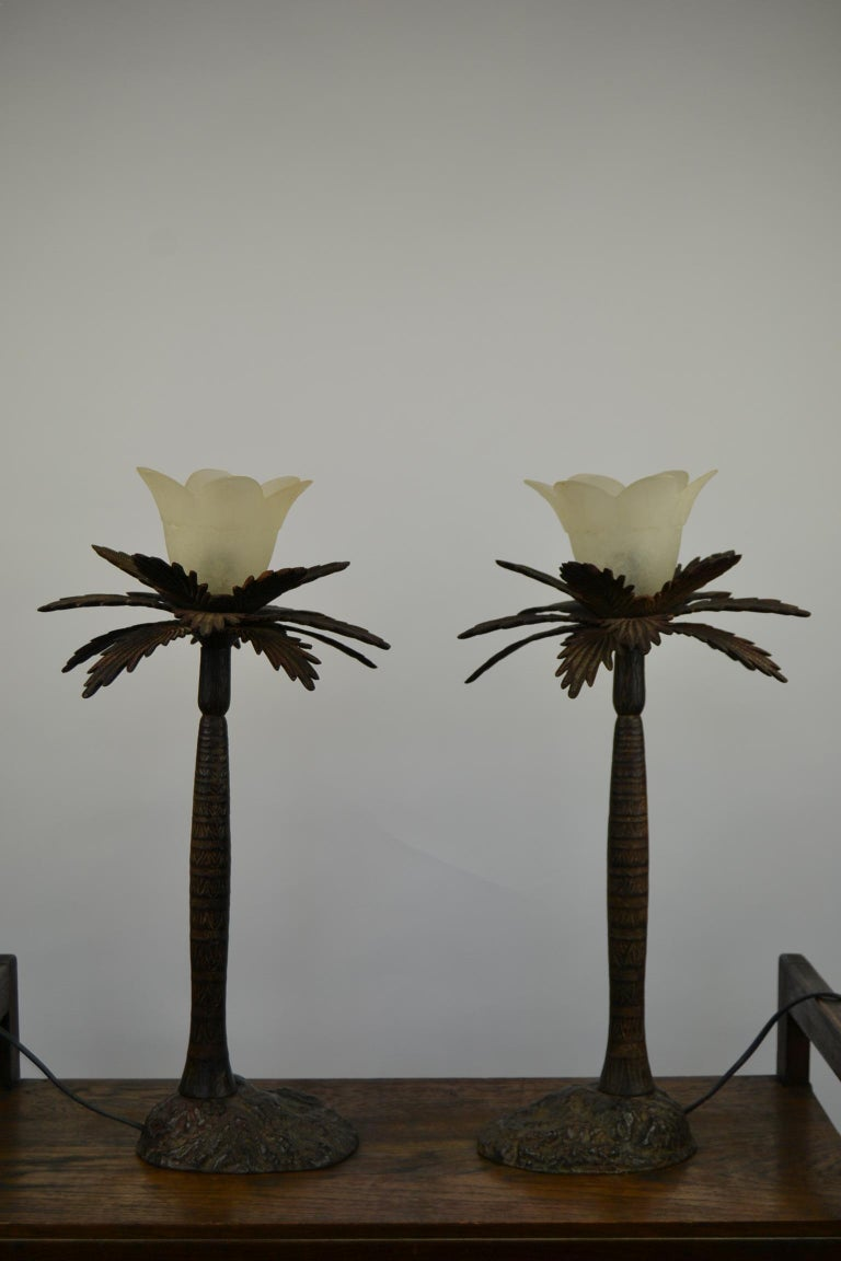 Pair of Brutalist Palm Tree Table Lamps, 1950s For Sale 6