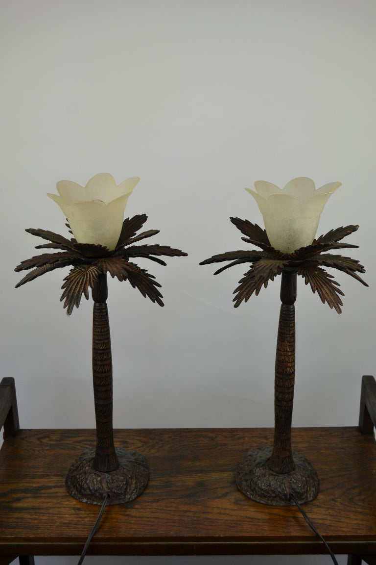 Pair of Brutalist Palm Tree Table Lamps, 1950s For Sale 7