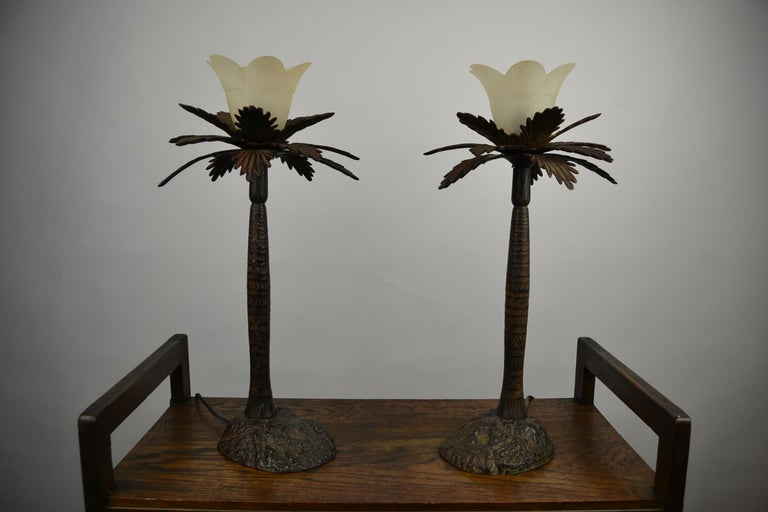 Pair of Brutalist Palm Tree Table Lamps, 1950s For Sale 8