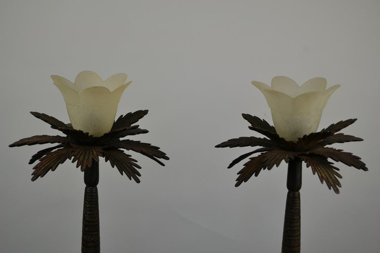 European Pair of Brutalist Palm Tree Table Lamps, 1950s For Sale