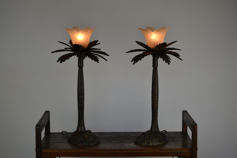 Pair of Brutalist Palm Tree Table Lamps, 1950s In Good Condition For Sale In Antwerp, BE