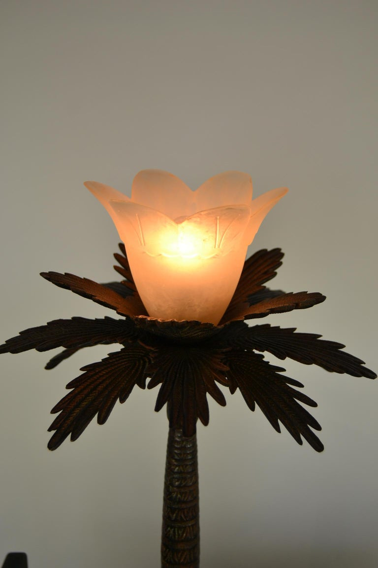 20th Century Pair of Brutalist Palm Tree Table Lamps, 1950s For Sale