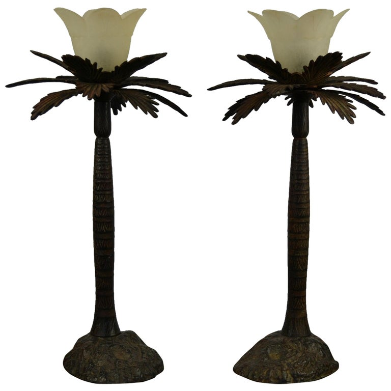 Pair of Brutalist Palm Tree Table Lamps, 1950s For Sale