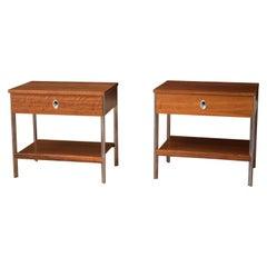 Vintage Pair of California Modern Walnut and Aluminum Nightstands