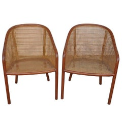 Vintage Pair of Landmark Cane Chairs by Ward Bennett for Brickel Associates