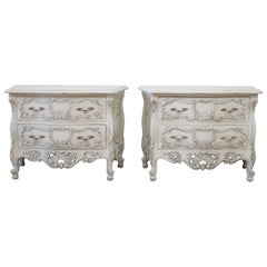 Vintage Pair of Carved and Painted Nightstands or Bedside Commodes