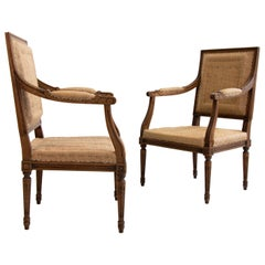 Vintage Pair of Carved Wood Fauteuil Louis XVI Armchairs, France