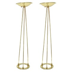 Vintage Pair of Casella Brass Torcheres Floor Lamps