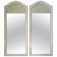 Vintage Pair of Celery Green Mirrors