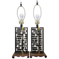 Vintage Pair of Chinese Abacus Lamps