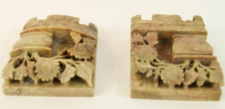 Vintage Pair of Chinese Carved Soapstone Floral Garden Urn Bookends, circa 1930s For Sale 1