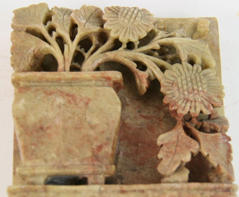 Vintage Pair of Chinese Carved Soapstone Floral Garden Urn Bookends, circa 1930s For Sale 2