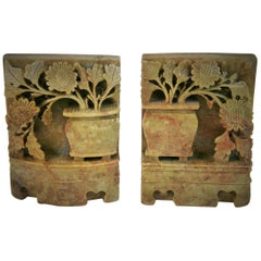 Vintage Pair of Chinese Carved Soapstone Floral Garden Urn Bookends, circa 1930s