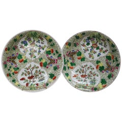 Vintage Pair of Chinese Porcelain Chargers with Butterflies and Garden Scene
