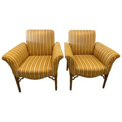 Vintage Pair of Chinoiserie Faux Bamboo Club Armchairs Fret Wood