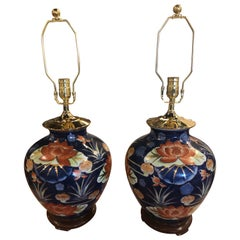 Vintage Pair of Chinoiserie Lotus Table Lamps Orange & Navy Blue Brass Pagoda