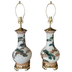 Vintage Pair of Chinoiserie Pagoda Ceramic Table Lamps Brass Newly Wired