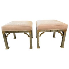 Vintage Pair of Chrome and Brass Upholstered Pink Velvet Benches Stools Ottomans