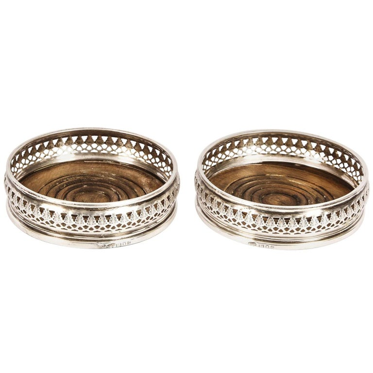 Vintage Pair of Circular Sterling Silver Coasters, London, 20th Century For Sale