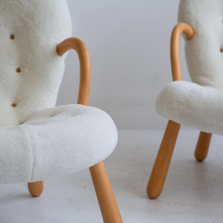 Scandinavian Modern Pair of Philip Arctander Clam Chairs in Shearling, Mid-Century, Scandinavian For Sale