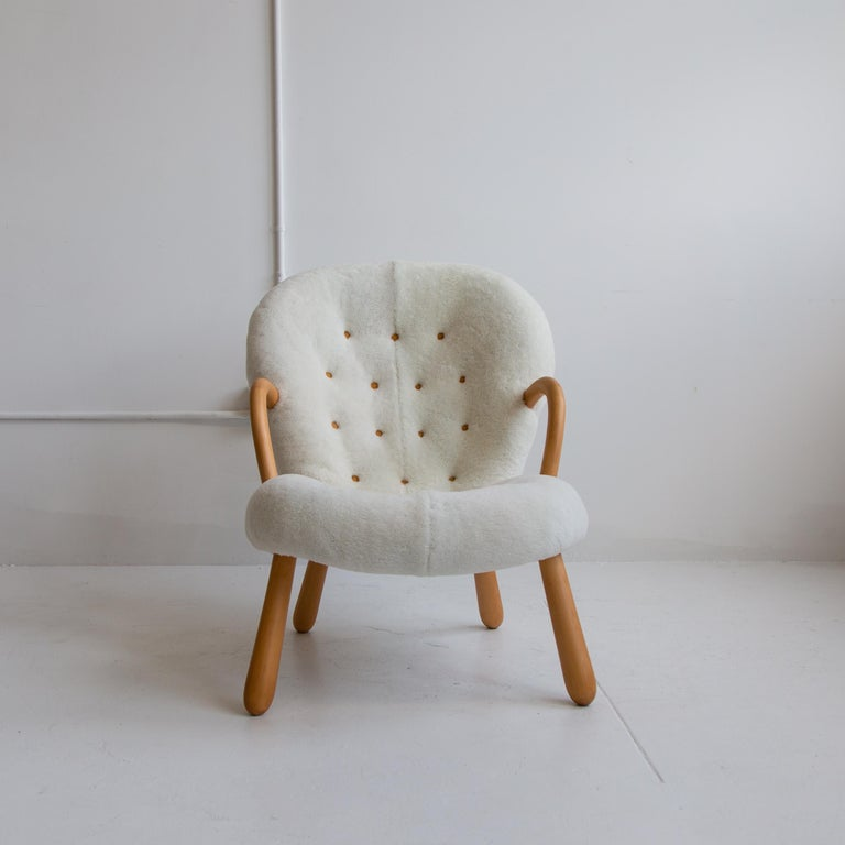 Danish Pair of Philip Arctander Clam Chairs in Shearling, Mid-Century, Scandinavian For Sale