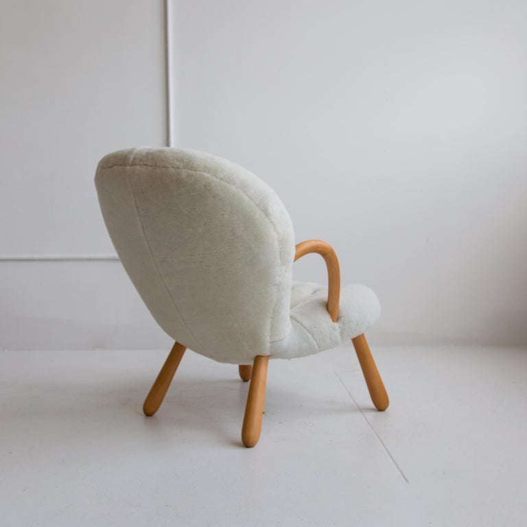 Pair of Philip Arctander Clam Chairs in Shearling, Mid-Century, Scandinavian In Excellent Condition For Sale In New York, NY