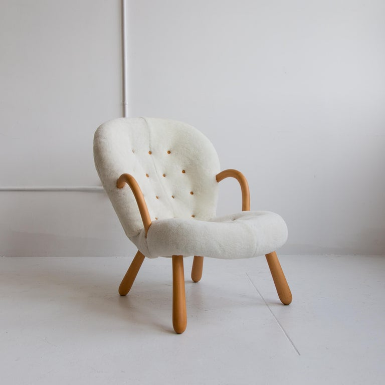 Goatskin Pair of Philip Arctander Clam Chairs in Shearling, Mid-Century, Scandinavian For Sale